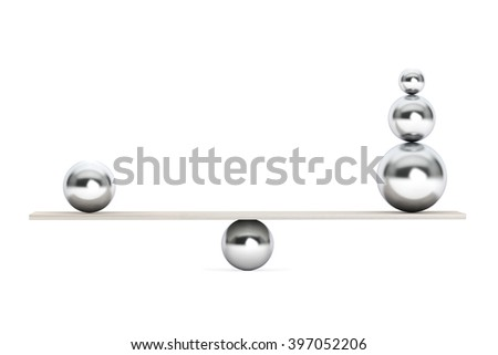 Chrome Balancing Balls over Wooden Board on a white background
