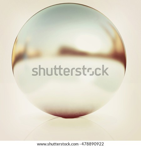 Chrome Ball 3d render on a white background. 3D illustration. Vintage style.