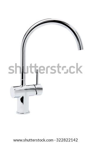 Chrome bathroom taps on white background. - stock photo