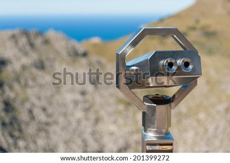 Chrome binoculars - stock photo