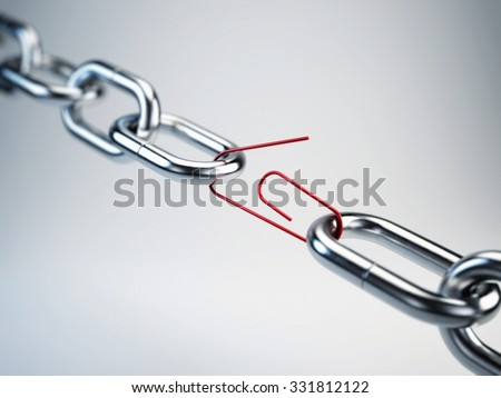 Chrome chain with a red link clip - stock photo