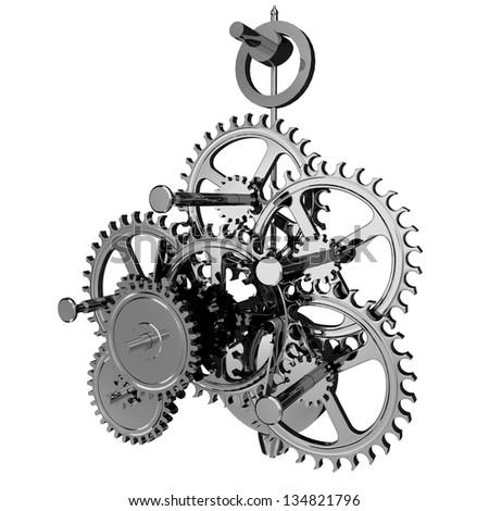 Chrome clockwork / mechanism isolated on white. 3D render. - stock photo