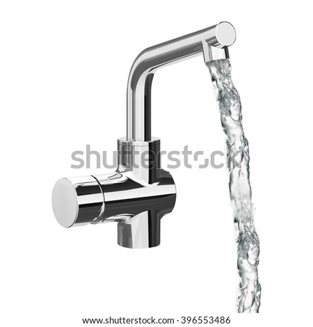 Chrome Faucet Isolated - stock photo
