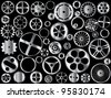 Chrome gears and wheels vector on black background - stock photo