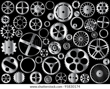 Chrome gears and wheels vector on black background