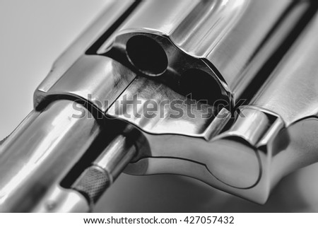 chrome gun .38 mm, Five shot .38 mm pistol. - stock photo