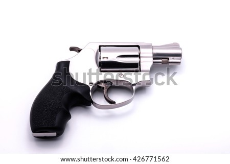 chrome gun .38 mm isolated on white background, Five shot .38 mm pistol. - stock photo