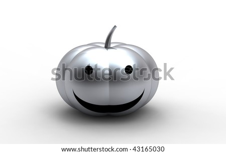 chrome Halloween Pumpkin isolated on white - stock photo