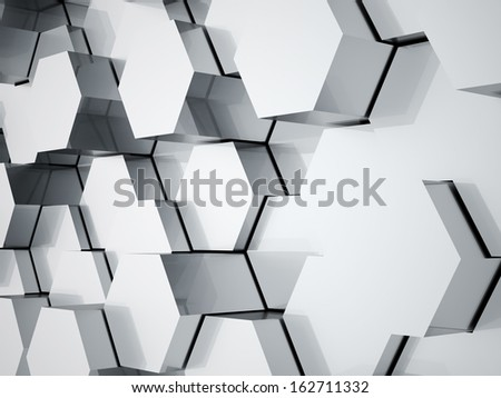 Chrome hexagonal tubes background rendered  - stock photo