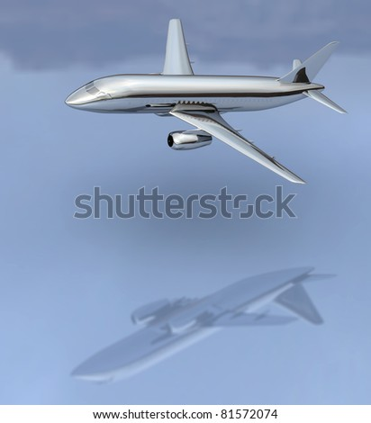 Chrome like aircraft flying low across a reflective bluish surface - stock photo