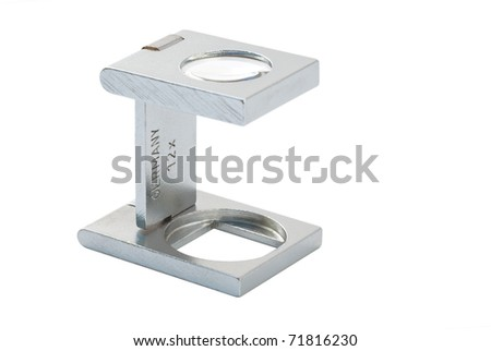 chrome magnifier isolated on white - stock photo