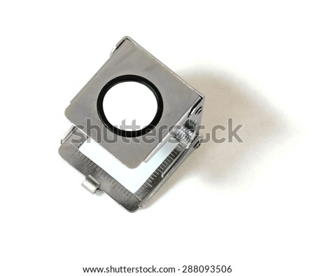 chrome magnifier isolated on white with clipping path - stock photo