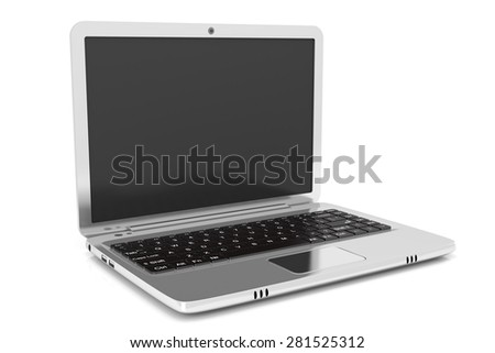 Chrome , metallic laptop isolated on white background with soft shadow - stock photo