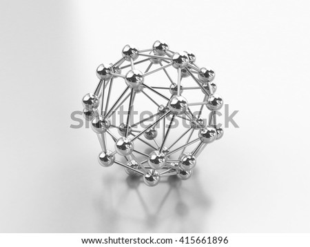 Chrome Molecular structure isolated on white, 3d illustration. - stock photo