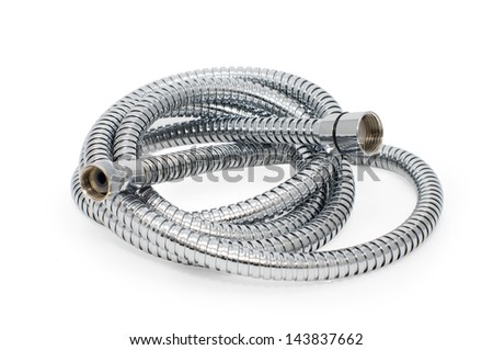 Chrome-plated corrugated hose for water - stock photo