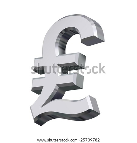 Chrome Pound sign isolated on white. Computer generated 3D photo rendering.