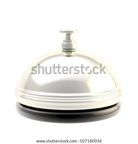 Chrome reception bell isolated on white, glossy silver metal - stock photo