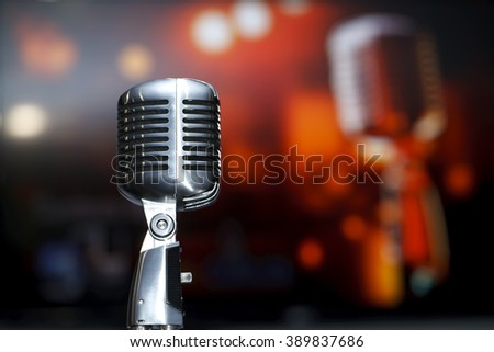 chrome retro microphone close-up, karaoke, background music - stock photo