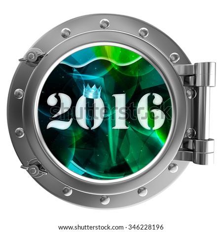 Chrome ship porthole with the image in window 2016 - stock photo
