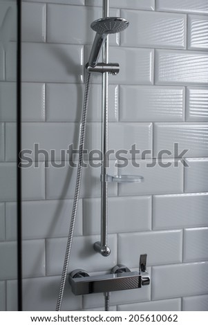 chrome shower in luxury bathroom - stock photo