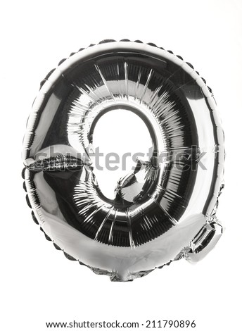 Chrome silver balloon font part of full set upper case letters,Q - stock photo