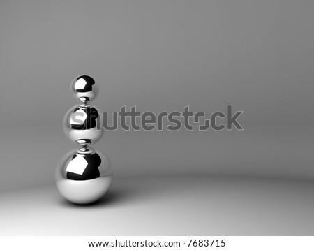 chrome spheres - stock photo