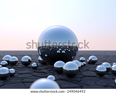 Chrome Spheres Futuristic Background - stock photo