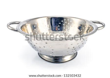 Chrome strainer on a white background - stock photo