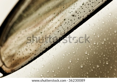 Chrome surface full of water drops