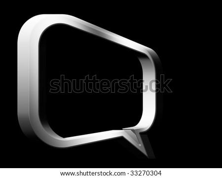 Chrome talk box on black background. Illustration - stock photo
