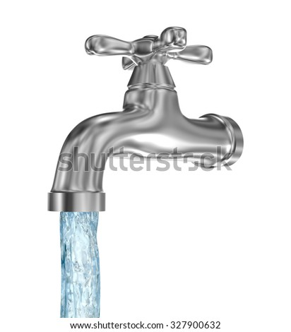 Chrome tap with a water stream. Isolated on white - stock photo