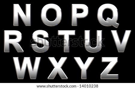 Chrome Text Letters On Black. 3D Render - stock photo