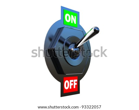 Chrome Toggle switch (ON)  3D images - stock photo