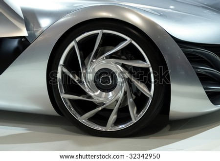 Chrome Wheel of a Car Prototype - stock photo