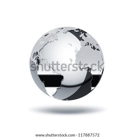 chrome world on a white background - stock photo