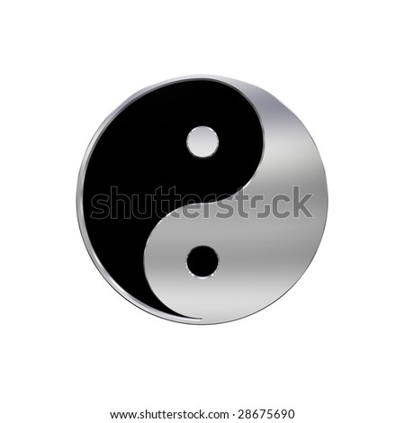 Chrome Yin-Yang, symbol of harmony. Computer generated 3D photo rendering.