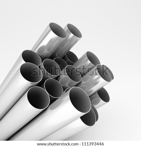 chromed metal pipes - stock photo