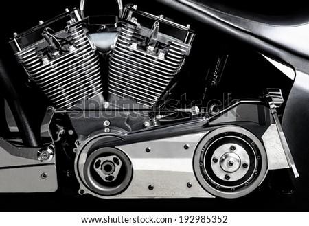 chromed motorcycle engine, Engine block, close-up - stock photo