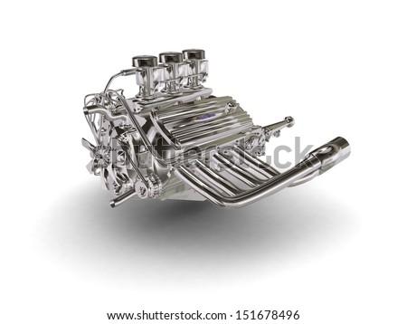 Chromed retro car engine - stock photo