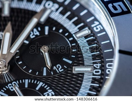 Chronograph detail. Selective focus, shallow depth of field. - stock photo