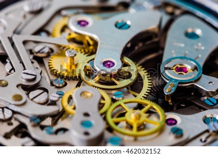 Chronograph watch parts close-up.