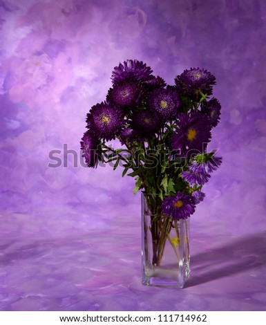 chrysanthemums bunch on abstract painting  background - stock photo