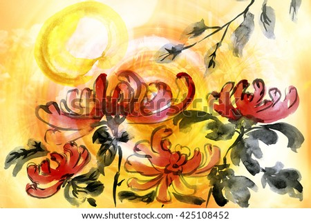 Chrysanthemums in the garden, picture in east style by India ink, sumi-e - stock photo