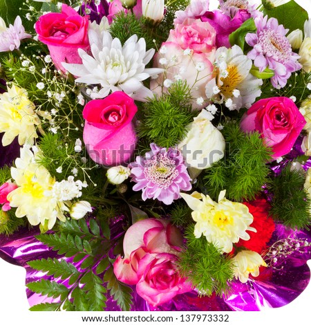 chrysanths and tea roses in flower bouquet close up - stock photo