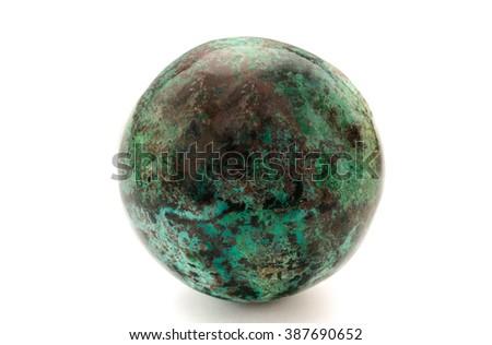 chrysocolla ball isolated - stock photo