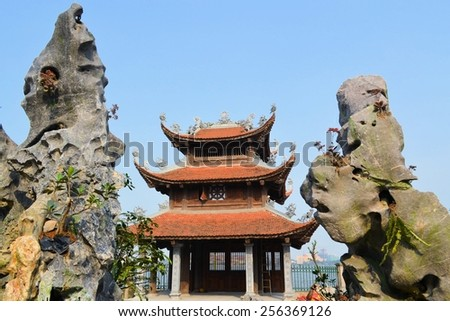 Chua Tao Sach temple pagoda at Ho Tay west lake in Hanoi, Vietnam - stock photo