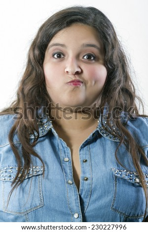Chubby woman with a fresh face expression - stock photo