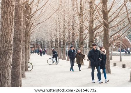 CHUNCHEON, SOUTH KOREA - FEBRUARY 28, 2015: Tourists enjoy one of the many tree-lined trails of Nami Island (Namiseom), where the popular Korean drama Winter Sonata was filmed. - stock photo