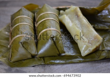 Chung cake, So Vietnamese food is wrapped in banana leaves.