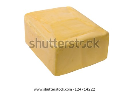 Chunk of Butter on white background
